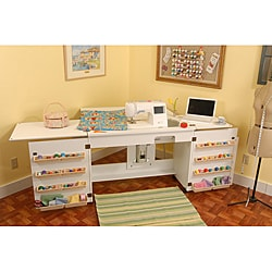 Arrow Sewing Cabinet Bertha White Sewing Machine Airlift with Sewing Kit Storage