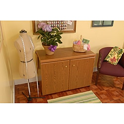 Arrow Sewing Cabinet Bertha Oak Finish Sewing Machine Airlift with Sewing Kit Organizer