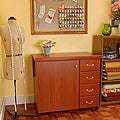 Arrow Marilyn Cherry Sewing Machine Cabinet with Airlift and Storage Kit by Exponential