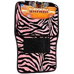 Oxgord Safari Pink Zebra 4-piece Car Floor Mat Set