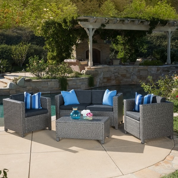 Christopher Knight Home Puerta Grey Outdoor Wicker Sofa Set Over