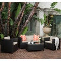 Christopher Knight Home Outdoor Puerta 4-piece Grey Wicker Sofa Set with Cushions