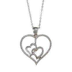 La Preciosa Sterling Silver Cubic Zirconia Double Heart Necklace