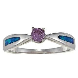 La Preciosa Sterling Silver Created Blue Opal and Purple CZ Ring