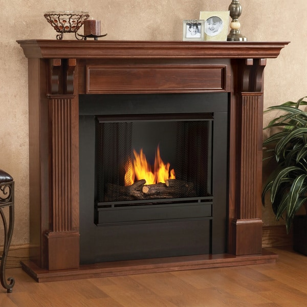 Real Flame Ashley Mahogany Gel Fuel 48.03-inch Fireplace