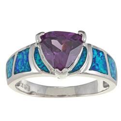 La Preciosa Sterling Silver Purple Trillion-cut CZ and Created Blue Opal Ring