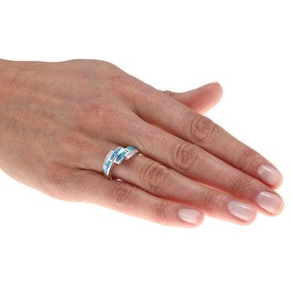 La Preciosa Sterling Silver Created-blue-opal and CZ Accent Ring