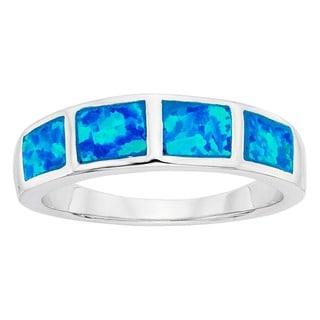 La Preciosa Sterling Silver Created Blue Opal Squares Ring