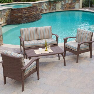 Christopher Knight Home Honolulu Outdoor Brown Wicker Sofa Set