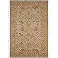 Hand-knotted Ivory/ Brown Wool Rug (6' x 9')