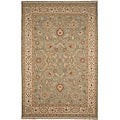 Hand-knotted Green/ Ivory Wool Rug (6' x 9')