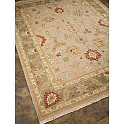 Hand-knotted Grey/ Red Wool Rug (2' x 3')