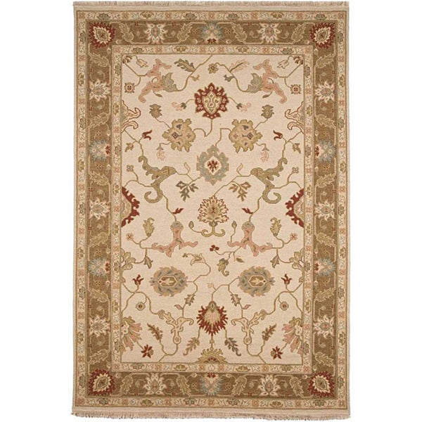 Hand-knotted Sand Brown Wool Rug (10' x 14')