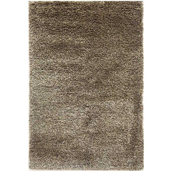 Hand-woven Brown Wool-blend Shag Rug (5' x 8')