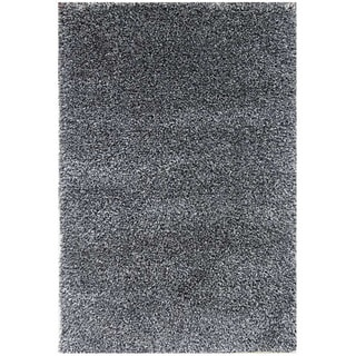 Hand-woven Grey Wool-blend Shag Rug (2' x 3')