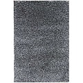 Hand-woven Black/ White Wool-blend Shag Rug (5' x 8')