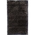 Hand-woven Black/White Wool-blend Shag Rug (3'6 x 5'6)