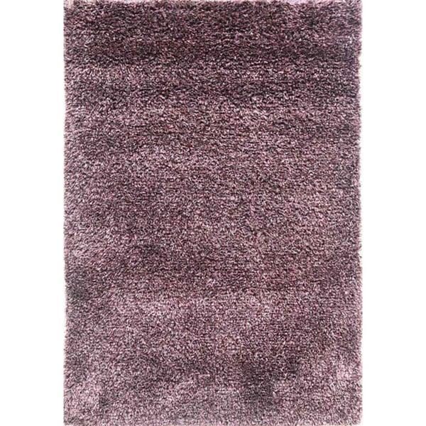Hand-woven Plum Wool-blend Shag Rug (2' x 3')