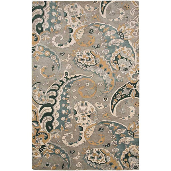 Hand-tufted Grey Paisley Wool Rug (3'6 x 5'6)