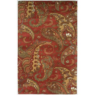 Hand-tufted Red Abstract Wool Rug (8' x 11')