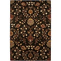 Hand-tufted Black Floral Wool Rug (3'6 x 5'6)