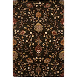 Hand-tufted Black Floral Wool Rug (5' x 8')