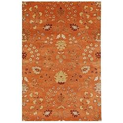 Hand-tufted Orange Floral Wool Rug (8' x 11')