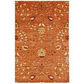 Hand-tufted Orange Floral Wool Rug (8' x 11')