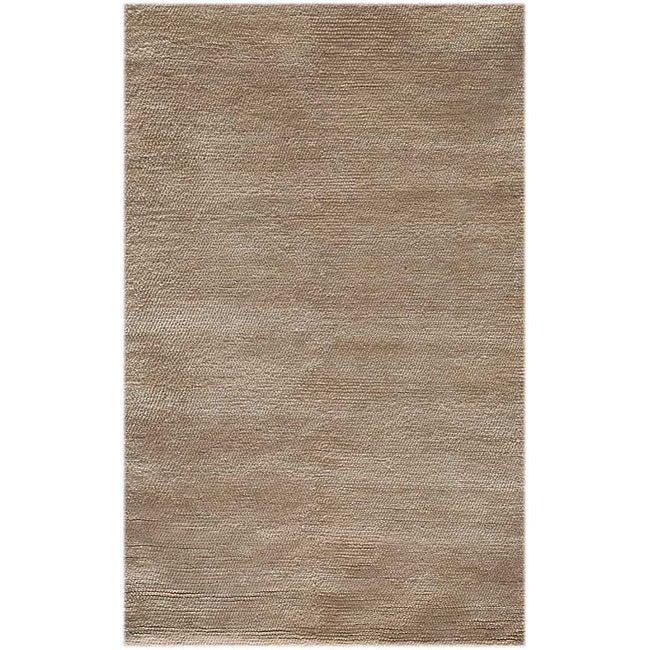 Hand-woven Beige Wool Area Rug (2' x 3')
