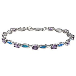 La Preciosa Silver Purple CZ and Created Blue Opal Link Bracelet