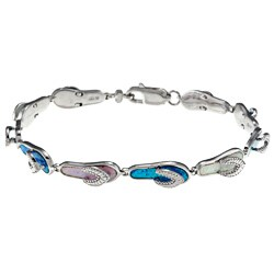 La Preciosa Silver Created Multi-colored Opal Flip Flop Link Bracelet