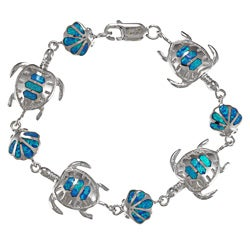 La Preciosa Sterling Silver Created Blue Opal Tortoise and Shell Bracelet