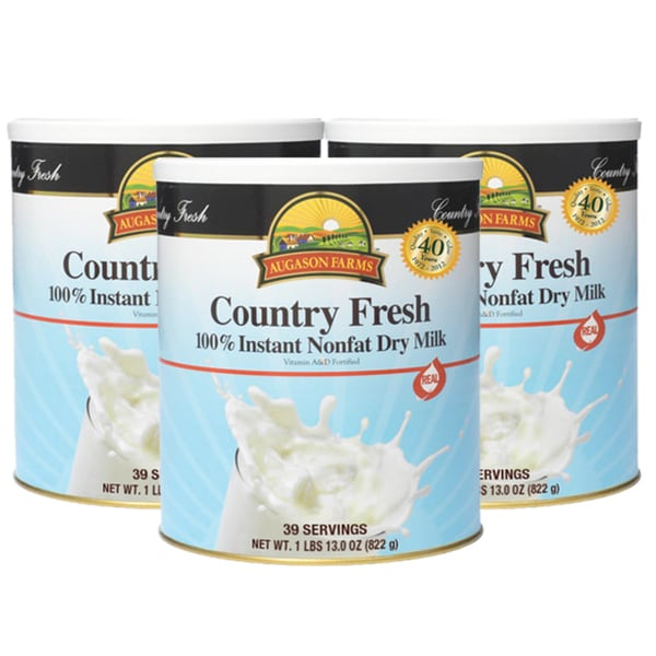 Augason Farms Country Fresh 100-Percent Real Instant Nonfat Dry Milk (3 Pack)
