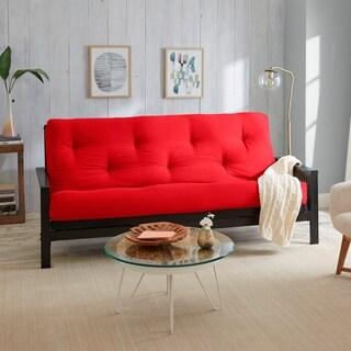 Full-Size 6-inch Red Suede Futon Mattress