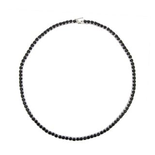 Glitzy Rocks Sterling Silver Black Spinel Necklace (26 1/2ct TGW)
