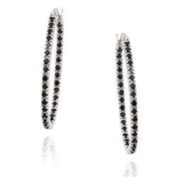 Glitzy Rocks Sterling Silver Black Spinel Hoop Earrings (1 1/3ct TGW)