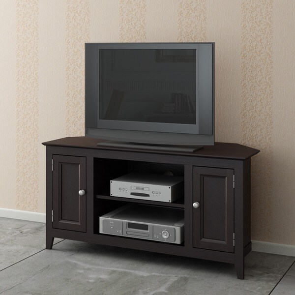 Espresso Wood 2-Door TV LCD Stand/ Media Console