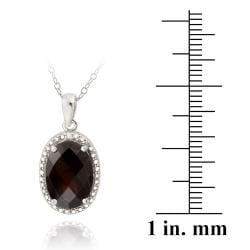 Glitzy Rocks Silver 5 1/2ct TGW Garnet and Diamond Accent Necklace