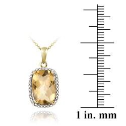Glitzy Rocks 18k Gold/ Silver 5 1/10ct TGW Citrine and Diamond Necklace