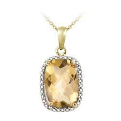 Glitzy Rocks 18k Gold/ Silver 5 1/10ct TGW Citrine and Diamond Necklace