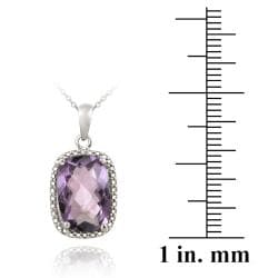 Glitzy Rocks Silver 5 1/10ct TGW Amethyst and Diamond Accent Necklace