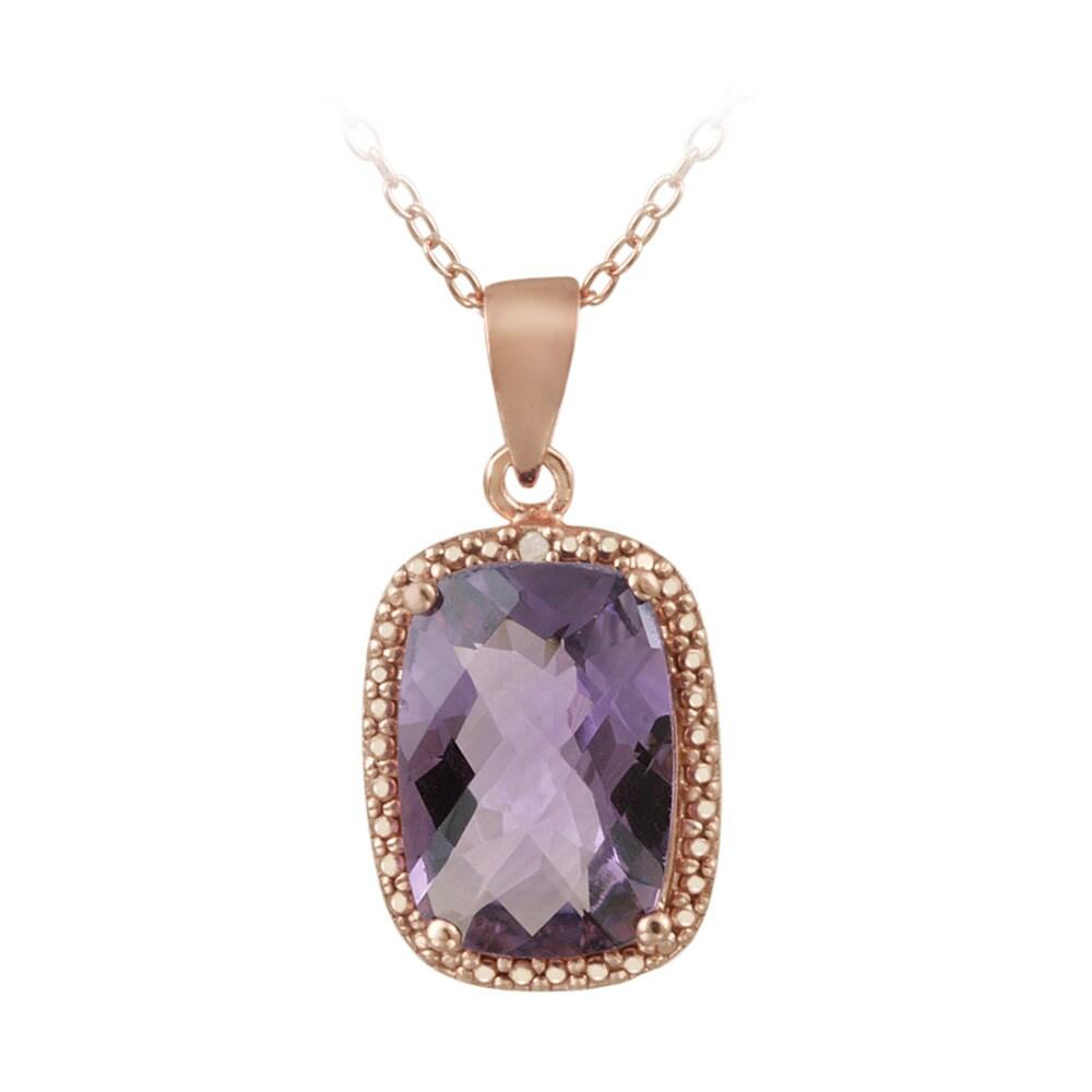 Glitzy Rocks Rose Gold/ Silver 5 1/10ct TGW Amethyst and Diamond Necklace