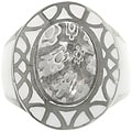 CGC Stainless Steel White Murano Glass Flower Ring