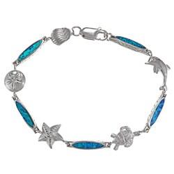La Preciosa Sterling Silver Created Blue Opal Sea Life Bracelet