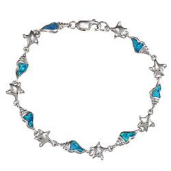 La Preciosa Silver Created Blue Opal Seashell and Starfish Bracelet