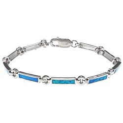 La Preciosa Sterling Silver Created Blue Opal Bar and Circle Bracelet