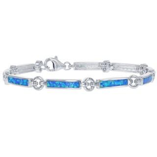 La Preciosa Sterling Silver Created Blue Opal Bar and Circle Bracelet