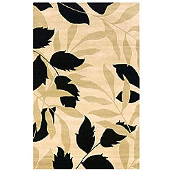 Contemporary Hand-Tufted Hesiod Ivory Wool Rug (5' x 8')