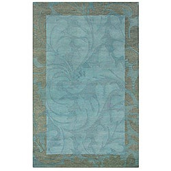 Hand-tufted Hesiod Blue Floral Wool Rug (5' x 8')
