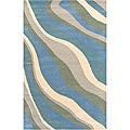 Hand-tufted Hesiod Blue Wave Wool Rug (5' x 8')